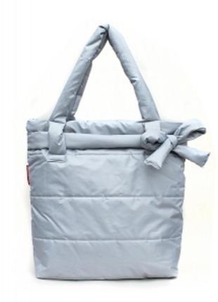 Болоньевая сумка на синтепоне серая bow