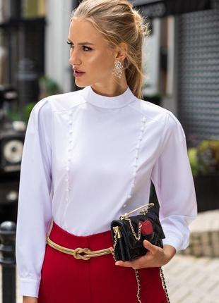 Хит 2021! блузка белая классическая с длинным рукавом для офиса