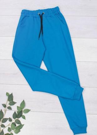 Женские голубые синие спортивные брюки2 фото