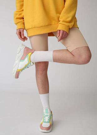 Цветные кроссовки, натуральная кожа