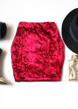 Бархатная, велюровая красная  юбка от atmosphere, размер 10(38), см. замеры