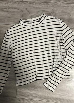 Кроп топ кофта футболка свитшот пуловер лонгслів водолазка базовая полосатая в полоску h&m