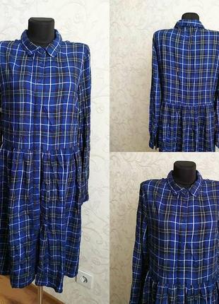 Стильна синя  сукня 👌👌👌 в клітинку