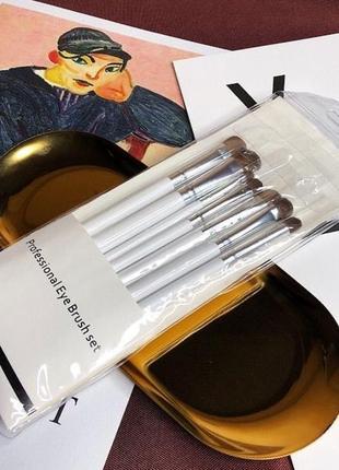 Набор кистей для макияжа глаз с ворсом пони 7 шт белые