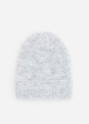 Подростковая меланжевая шапка с искусственным жемчугом