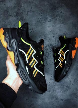 Женские кроссовки adidas ozweego black  green