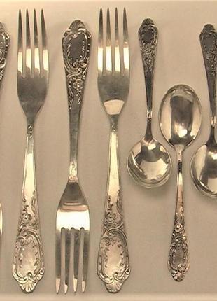 Серебро ссср лом 25 грн за грамм  набор  875 проба вилки ложки чайные 5 персон 448,00 гр.