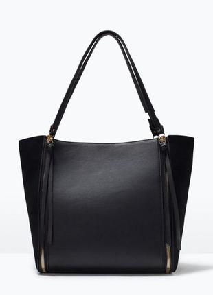 Zara обалденная сумка шоппер вставки натуральная замша