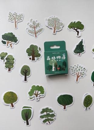 Набор наклеек, стикеров для скрапбукинга хвойные деревья
