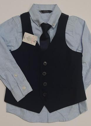 Рубашка с галстуком и жилетом комплект костюм