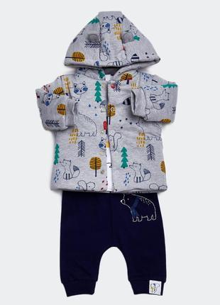Шикарный комплект курточка+реглан+штаны от dunnes, англия. размеры 3-6,6-9 мес.