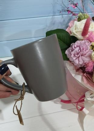 Серая чашка в стиле лофт