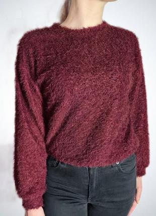 Кофта свитшот бордо тёплый свитер