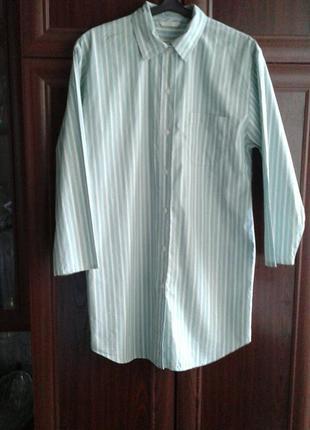 Хлопковое платье рубашка полосатая в пижамном стиле marks & spencer батал