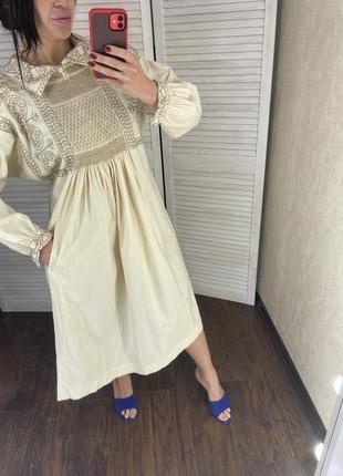 Платье миди с воротником свободное винтаж вінтаж плаття сукня міді