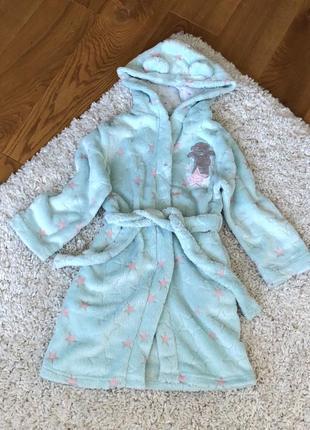 Нежный бирюзовый халат с ушками мишка тедди 116-122 6-7 лет