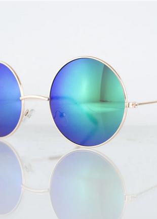 Очки унисекс солнцезащитные круглые - золотые с зелеными зеркальными линзами