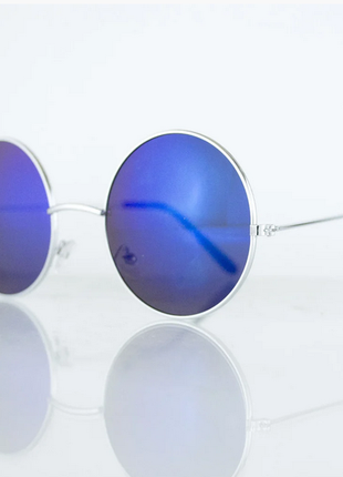 Очки унисекс солнцезащитные круглые - серебряные с синими зеркальными линзами