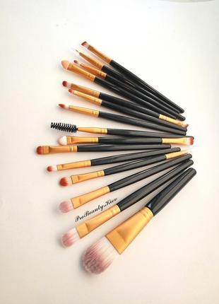 15 шт кисти для макияжа набор black/gold probeauty