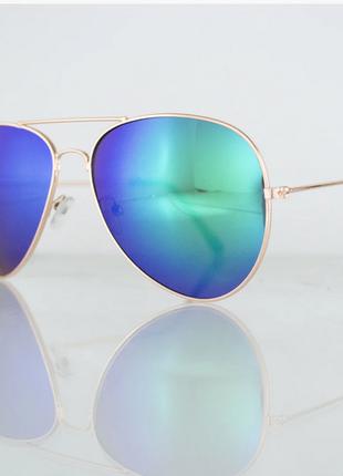 Очки унисекс солнцезащитные aviator (авиатор) зеркальные - золотые