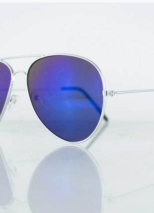 Очки унисекс солнцезащитные aviator (авиатор) зеркальные - серебряные