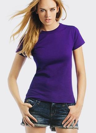 Фиолетовая футболка базовая 100% хлопок размеры