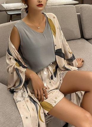 Комплект для сна, дома из 4 предметов. пижама женская из вискозы с цветочный принтом