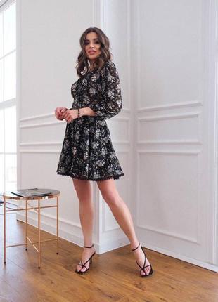 """Невесомое платье """"анютка"""", р.xs,s,m, шифон+трикотаж, черный в цветах"""