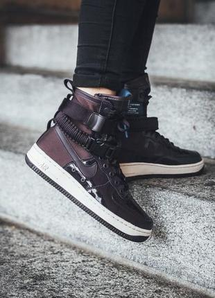 Кроссовки женские  nike sf air force 1 ruby rose force is port wine