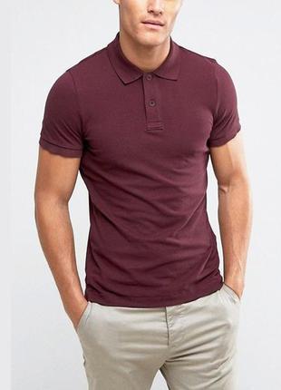 Бордовая базовая футболка марсала поло 100% хлопок