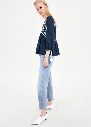 Натуральная блуза с вышивкой топ в стиле бохо блузка с оборками объёмными рукавами6 фото