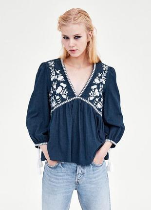 Натуральная блуза с вышивкой топ в стиле бохо блузка с оборками объёмными рукавами1 фото