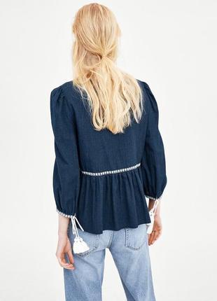 Натуральная блуза с вышивкой топ в стиле бохо блузка с оборками объёмными рукавами3 фото
