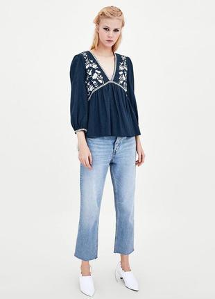 Натуральная блуза с вышивкой топ в стиле бохо блузка с оборками объёмными рукавами4 фото