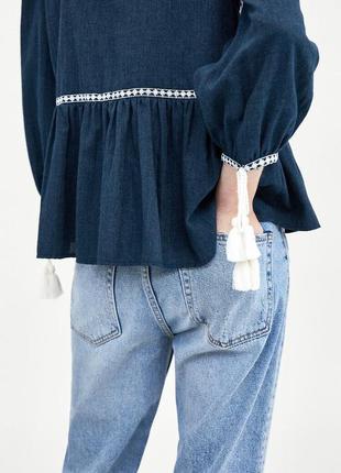 Натуральная блуза с вышивкой топ в стиле бохо блузка с оборками объёмными рукавами2 фото