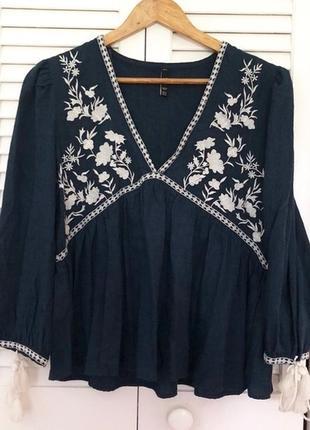 Натуральная блуза с вышивкой топ в стиле бохо блузка с оборками объёмными рукавами8 фото