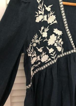 Натуральная блуза с вышивкой топ в стиле бохо блузка с оборками объёмными рукавами9 фото