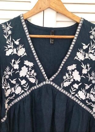 Натуральная блуза с вышивкой топ в стиле бохо блузка с оборками объёмными рукавами7 фото