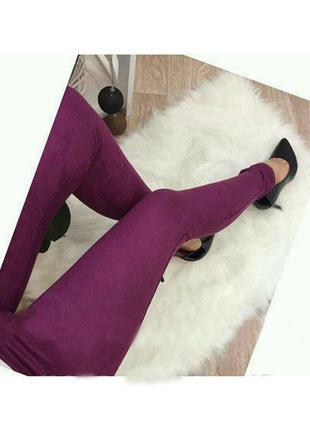 Замшевые лосины брюки бордовые + цвета р 42-48