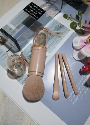 4 шт кисти для макияжа набор в футляре дорожный mini powder pink probeauty