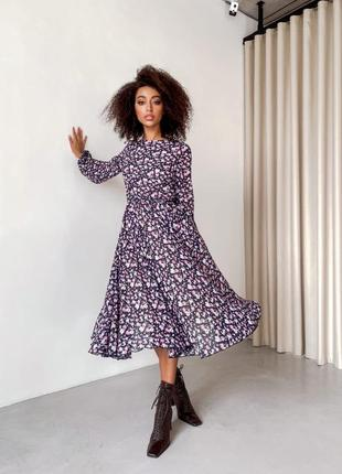 """Весеннее платье """"венеция"""", р.s,m,l, шифон винди+трикотаж, черный+цветы"""