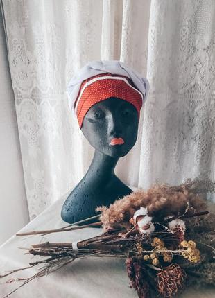 Чалма красная в горошек летняя, летняя бандана шляпа легкая на лето