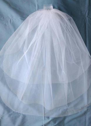 Фата 3 шарова класична весільна свадебная