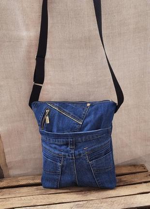 Планшет клатч  сумка джинсовая синяя много карманов длинная ручка ручная работа