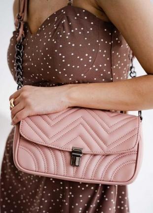 Стильная женская пудровая сумка через плечо,на плечо,с цепочкой