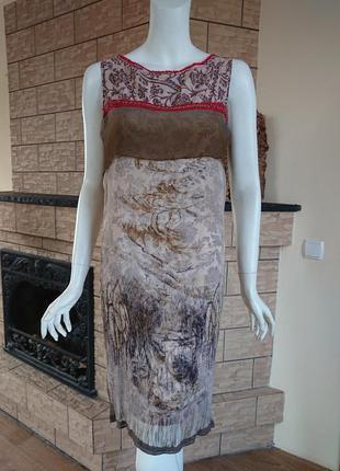 Save the queen платье сарафан с шелком цепочка природа цветочный принт размер m