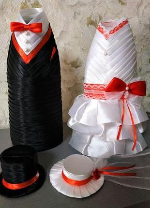 """Свадебное украшение (костюмчики со шляпками) на бутылки """"пара"""""""