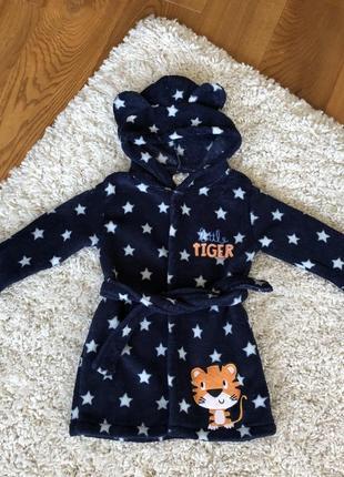 Disney мягкий халат с ушками тёмно-синий 18-24 месяца тигренок
