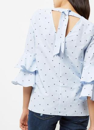 Роскошная блузка в принт звезды с оборками на рукавах river island