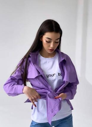 """Женская рубашка """"коттон"""" лиловая oversize"""